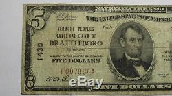 $5 1929 Brattleboro Vermont VT National Currency Bank Note Bill! Ch. #1430 FINE