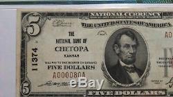 $5 1929 Chetopa Kansas KS National Currency Bank Note Bill Ch. #11374 VF30! PMG