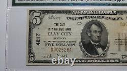 $5 1929 Clay City Kentucky KY National Currency Bank Note Bill Ch #4217 F15 PMG