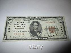 $5 1929 Columbia Pennsylvania PA National Currency Bank Note Bill! Ch. #3873 VF