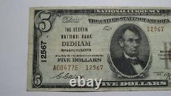 $5 1929 Dedham Massachusetts MA National Currency Bank Note Bill Ch. #12567 VF