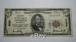 $5 1929 Emporium Pennsylvania PA National Currency Bank Note Bill Ch. #3255 RARE
