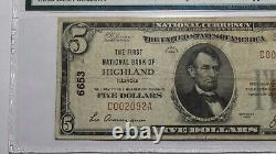 $5 1929 Highland Illinois IL National Currency Bank Note Bill Ch. #6653 PMG VF20