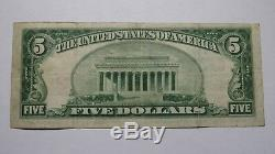$5 1929 Jacksonville Illinois IL National Currency Bank Note Bill Ch. #5763 VF