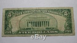 $5 1929 Johnstown Pennsylvania PA National Currency Bank Note Bill #5913 VF