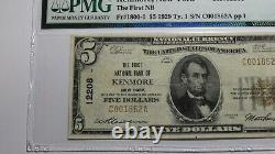 $5 1929 Kenmore New York NY National Currency Bank Note Bill Ch. #12208 F15 PMG