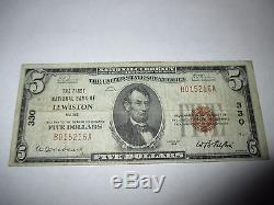 $5 1929 Lewiston Maine ME National Currency Bank Note Bill! Ch #330 Fine