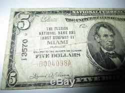 $5 1929 Miami Florida FL National Currency Bank Note Bill! Ch. #13570 Fine