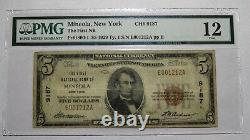 $5 1929 Mineola New York NY National Currency Bank Note Bill! Ch. #9187 PMG F12