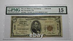 $5 1929 Mt. Sterling Kentucky KY National Currency Bank Note Bill #6160 F15 PMG