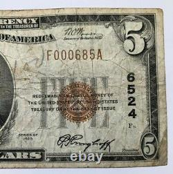 $5 1929 Nashville Illinois IL National Currency Bank Note Bill! Ch. #6524 F