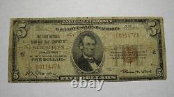 $5 1929 New Haven Connecticut CT National Currency Bank Note Bill! Ch. #2 RARE
