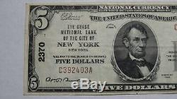 $5 1929 New York City NY National Currency Bank Note Bill! Ch. #2370 Chase Bank