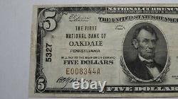 $5 1929 Oakdale Pennsylvania PA National Currency Bank Note Bill Ch. #5327 VF+
