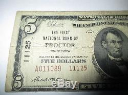 $5 1929 Proctor Minnesota MN National Currency Bank Note Bill! #11125! RARE