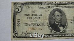 $5 1929 Pulaski Virginia VA National Currency Bank Note Bill! Ch. #4071 FINE