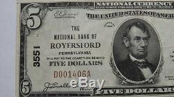 $5 1929 Royersford Pennsylvania PA National Currency Bank Note Bill! #3551 VF++
