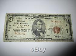 $5 1929 Santa Barbara California CA National Currency Bank Note Bill! Ch. #2104