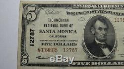 $5 1929 Santa Monica California CA National Currency Bank Note Bill Ch #12787 VF