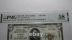 $5 1929 Summit New Jersey NJ National Currency Bank Note Bill #5061 AU58 PMG