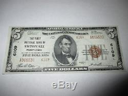 $5 1929 Swissvale Pennsylvania PA National Currency Bank Note Bill! Ch #6109 XF