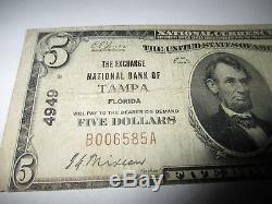 $5 1929 Tampa Florida FL National Currency Bank Note Bill Ch. #4949 Fine RARE
