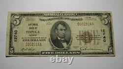 $5 1929 Topeka Kansas KS National Currency Bank Note Bill! Ch. #12740 FINE