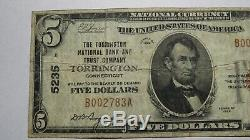 $5 1929 Torrington Connecticut CT National Currency Bank Note Bill Ch #5235 FINE