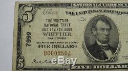$5 1929 Whittier California CA National Currency Bank Note Bill! Ch. #7999 FINE