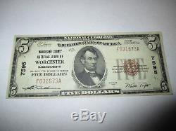 $5 1929 Worcester Massachusetts MA National Currency Bank Note Bill! #7595 VF++