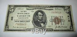 $5 1929 Yarmouth Massachusetts MA National Currency Bank Note Bill #516 VF