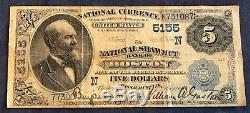 $5 National Currency Series 1882 Nat'l Shawmut Bank of Boston Free Ship USA