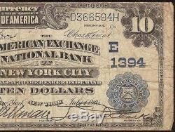 Large 1902 $10 Dollar American Exchange National Bank Note New York Currency
