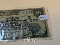 Large 1902 $10 Dollar Philadelphia National Bank Note Currency Old Paper Money