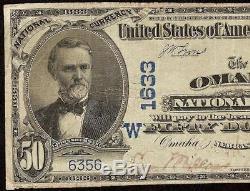 Large 1902 $50 Dollar Bill Omaha National Bank Note Currency Nebraska Ch 1633