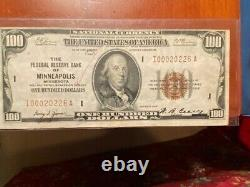 National Currency 1929 100 Dollar Bill Federal Reserve Bank Minneapolis, MN