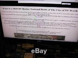 National Currency the Marine Bank NY charter 1215 five on the bank 1865