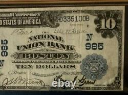Series 1902 $10 Dollar National Bank Note Currency, Union Bank Of Boston, Dates