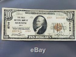The First National Bank of Morrow Ohio Ch #8709 National Currency 1929 $10 Ty. 2
