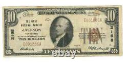 US $10 National Currency Note First National Bank Jackson TN 1929 USN019 F