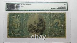 1 1865 $ Ellenville New York Ny Monnaie Nationale Banque Note Bill #2117 Ace Pmg