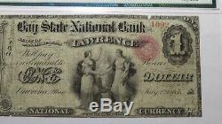 1 1865 $ Us Lawrence Massachusetts Ma Billet De Banque National - Bill Ch. # 1014 Ace