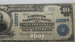 10 $ 1902 Arkadelphia Arkansas Ar Monnaie Nationale Bill #10087 Pmg F15