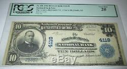 10 $ 1902 Atlantic Highlands New Jersey Nj Banque Nationale Monnaie Note Bill # 4119