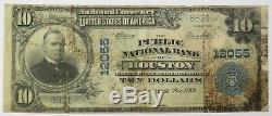 10 $ 1902 Banque Nationale De La Bourse De Houston Charte 12055 Texas Monnaie Note # 18516f