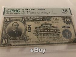 10 $ 1902 Benton IL Illinois National Bank Monnaie Note # 6136 Pmg 20 Redessiné Sig