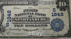 10 $ 1902 Billet De Banque National En Monnaie Nationale Du Sc De Spartanburg En Caroline Du Sud, Projet De Loi 1848 Vf +