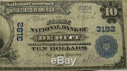 10 $ 1902 De Witt Iowa Ia Banque Nationale Monnaie Note Bill! Ch. # 3182 Rare! Etats-unis