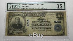 10 $ 1902 Florala Alabama Al Monnaie Nationale De Billets De Banque Bill Ch. # 8910 Pmg Fin
