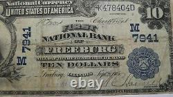 10 $ 1902 Freeburg Illinois IL Monnaie Nationale Banque Note Bill Ch. #7941 Fine++